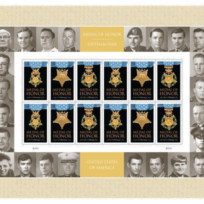 A stamp sheet with the other 24 living Medal of Honor