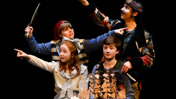 """Jason Gingold (clockwise from top right) as Black Stache, Julian Mudge-Burns (Boy), Sophie Eldridge (Molly Aster) and Kylee Gano (Smee) are featured in """"Peter and the Starcatcher,"""" which continues through March 25 at Bainbridge Performing Arts."""