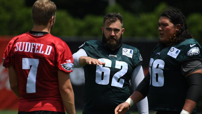 """Center Jason Kelce (62)  says while the Eagles are """"top dogs"""" now, they cannot be satisfied."""