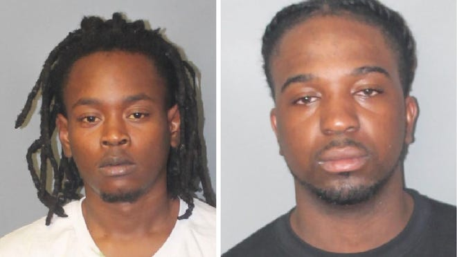 Diamondez Pierre, 22, of Boston and Voicy Sanders, 25, of Dorchester were charged after Brockton police initiated a traffic stop for speeding and a marked lanes violation and found a stolen loaded .38 revolver, about 30 grams of fentanyl and more than one and half pounds of marijuana on Saturday, Aug. 8, 2020, police say.