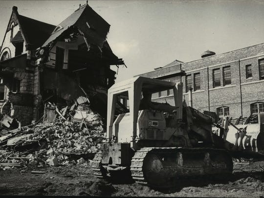 Demolition of the Plankinton Mansion continues in this