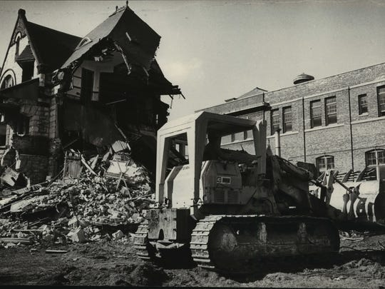 Demolition of the Plankinton Mansion continues in this October 1980 photo.