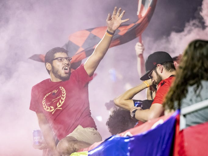 Phoenix Rising FC fans celebrate a score against Las
