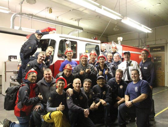 Eight firefighters from Taiwan visit the York City