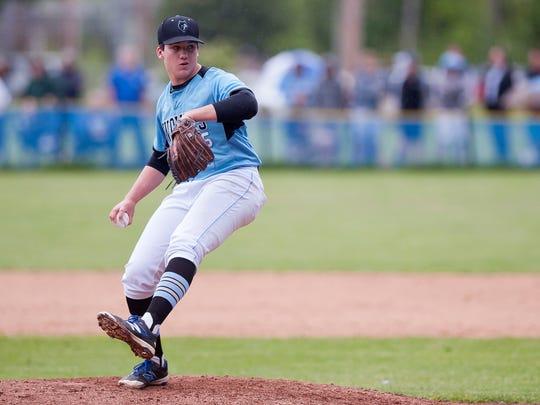 South Burlington's Jack Ambrosino winds up for a pitch
