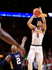 Lindell Wigginton puts up a shot against West Virginia
