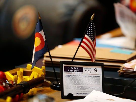 The calendar on a desk of a Colorado state senator
