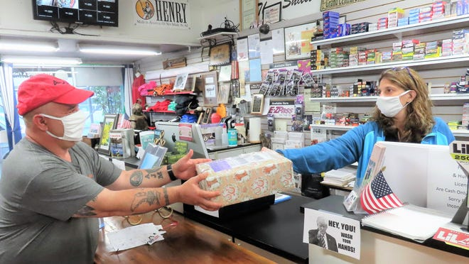 At The Gun Lady in Port Jervis, Maria Mann receives a package intended to be shipped via Fed Ex. Mann questions customers whom she suspects might be victims of fraud and gives them information about scams.