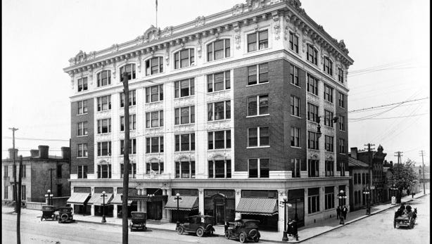 """The Elsby"" building, which opened in 1916 in downtown New Albany, Ind., was built by banker and civic leader Samuel J. Elsby."