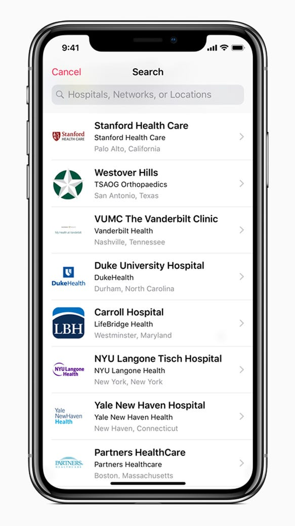 The Health app surfaces a list of hospitals and clinics