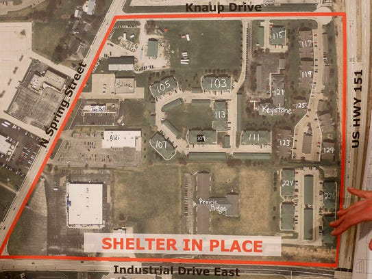 The area outlined in red is where a shelter in place