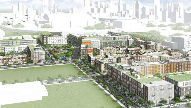 The city released conceptual renderings based on their Douglass-Market Transformation Plan, which targets parts of Brush Park and Eastern Market for over 1,000 units of new housing and thousands of square feet of commercial space. Much of the housing will be built on the site of the former Brewster-Douglass projects, reimagined here.
