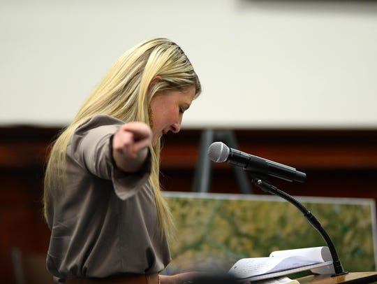 Robynn Dunn delivers her victim impact statement during