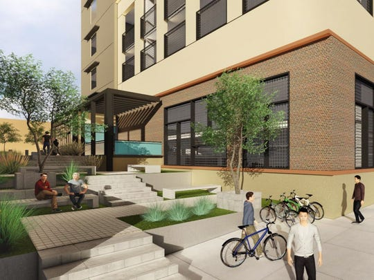 This rendering is of the future El Paso Community College Rio Grande Campus parking and classroom facility.