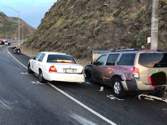 This was the scene of a multi-vehicle collision Thursday evening along southbound Highway 101 in which a CHP officer was injured.