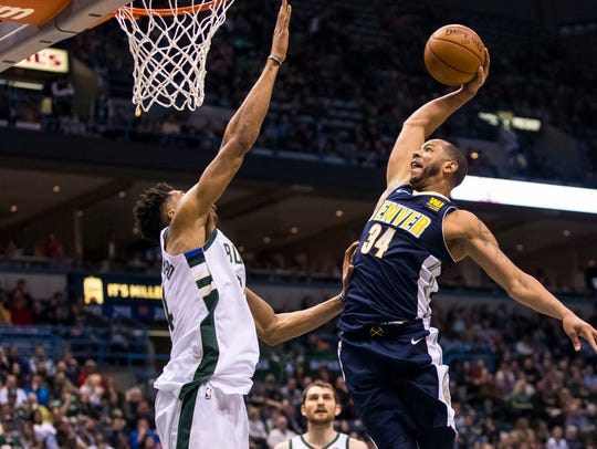 Feb 15, 2018; Milwaukee, WI, USA; Denver Nuggets guard