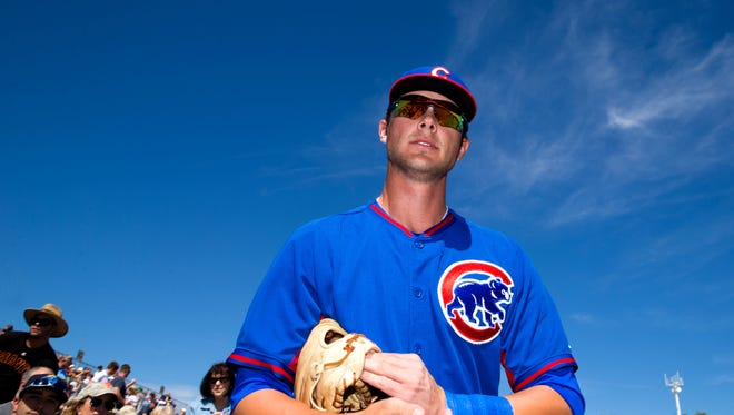 Chicago Cubs third baseman Kris Bryant prior to the game against the San Francisco Giants at Scottsdale Stadium.
