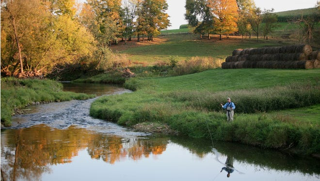 A fly fishermen casts on a stream in Vernon County, which is part of the Driftless Area. A study released in 2017 estimates trout fishing has a $1.6 billion annual economic impact to the Driftless Area.
