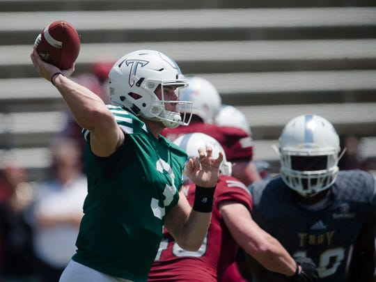 Sawyer Smith is one of two candidates to be Troy's starting quarterback this year.