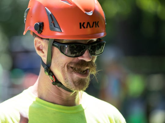 Reigning champion Doug Tochtrop competes in JAMBO, a competition for the arborist community taking place at Holliday Park over the weekend, Indianapolis, Friday, July 13, 2018. The contest, with awards for teams and individuals, has drawn men and women from all over the fifty states and Canada, plus Sweden and Puerto Rico.