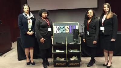 Pictured left to right are Irene Morton (senior, human resources), Kimberly Loving (senior, entrepreneurship), Shonice Musgrove (senior, entrepreneurship; team CEO), and Georgia Justice (senior, entrepreneurship).