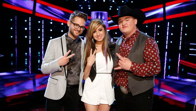 Josh Kaufman, left, Christina Grimmie and Jake Worthington are shown from Season 6 of The Voice.