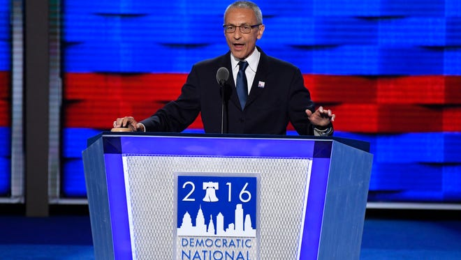 Hillary Clinton campaign chairman John Podesta speaks during the 2016 Democratic National Convention in Philadelphia.