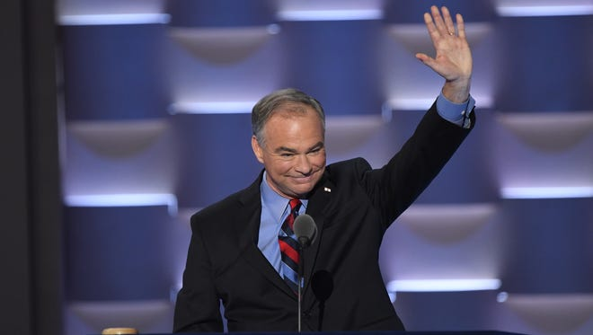 Democratic vice-presidential nominee Tim Kaine speaks during the 2016 Democratic National Convention in Philadelphia on July 27, 2016.