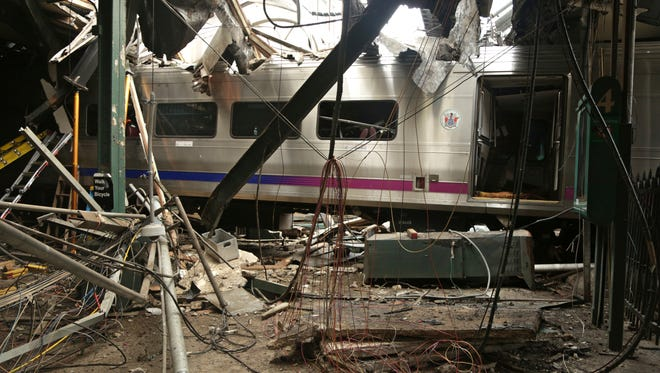 This Oct. 1, 2016, file photo, provided by the National Transportation Safety Board shows damage done to the Hoboken Terminal in Hoboken, N.J., after a commuter train crash. Trains run by New Jersey Transit, which operates the nation's second-largest commuter railroad, have been involved in 157 accidents since the start of 2011, three times as many as the largest, the Long Island Rail Road, according to an Associated Press analysis of data from January 2011 through July 2016.