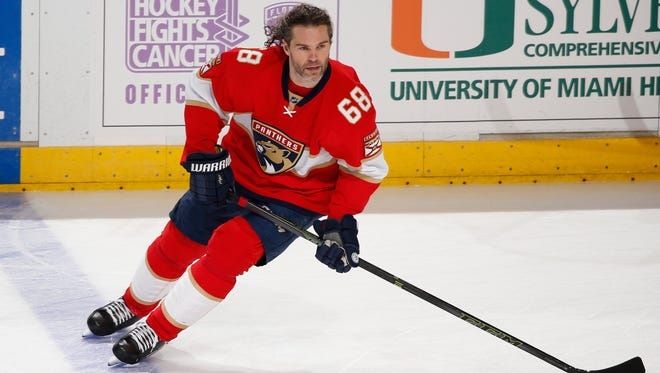 Panthers right wing Jaromir Jagr, who turns 45 next month, said Monday he'd like to play until he's 55. (AP Photo/Joel Auerbach)