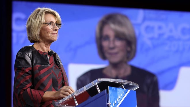 Secretary of Education Betsy DeVos addresses the Conservative Political Action Conference at the Gaylord National Resort and Convention Center on Feb. 23, 2017, in National Harbor, Md.