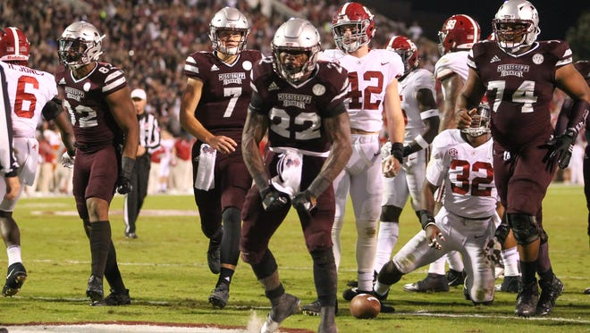 Mississippi State running back Aeris Williams (22) and the rest of the Bulldogs had some success against Alabama in 2017, but they're not thinking much of it heading into Saturday's game against the Crimson Tide.