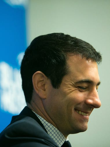 Martin Ingelsby smiles as he is officially announced as the new basketball coach at UD.