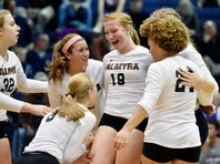 Palmyra players celebrate after a point in the fifth game of a PIAA District 3 Class AAA girls volleyball semifinal match Thursday, Nov. 3, 2016, at Dallastown. Palmyra defeated West York 3-2 (26-24, 23-25, 25-19, 14-25, 15-12) to advance to the championship game.
