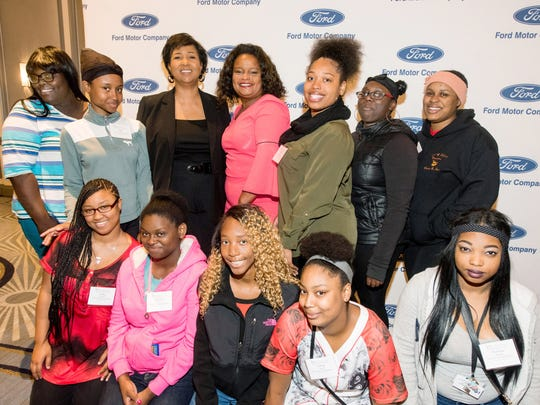 Mae Jemison poses with participants after addressing STEM education at inFORUM's Annual Meeting on May 25, 2017, at The Henry in Dearborn. Front row: Talisa Burton, Shaniya Pierce, Mica Carson, Trinity Cloud, Britiney Ready. Back row: Samya Shivers, Deja Poke,  Mae Jemison, Pamela Alexander, Ford, Director of Community Relations, Briana Williams, Diamond Hugle, Yazmine Keit