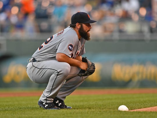 Tigers pitcher Michael Fulmer (32) reacts after giving up a series of runs during the first inning on Thursday, July 20, 2017, in Kansas City, Mo.