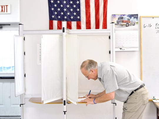 U.S. Rep. Steve King  marks his ballot in the Republican primary election Tuesday morning, June 7, 2016, at the Odebolt Fire Hall in Odebolt, Iowa. King is facing a primary challenge for his 4th Congressional District seat from Rick Bertrand, a state senator from Sioux City.