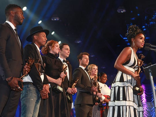 Janelle Monae, right, and the the cast and players from Hidden Figures accept the Ensemble Performance Award at the Palm Springs International Film Festival, January 2, 2017.