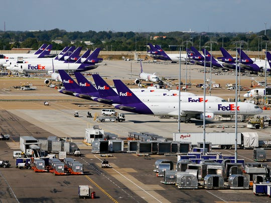 The ramp at the FedEx Hub at Memphis International Airport bustles with activity Oct. 18, 2016.