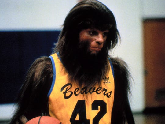 "Michael J. Fox gets hairy when hooping it up in ""Teen Wolf."""