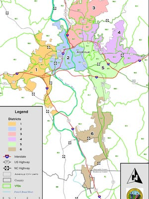 This map shows districts proposed for Asheville City Council considered by the state General Assembly last year. The map was never enacted into law.