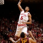 Indiana's Troy Williams dunks during the second half against Michigan.