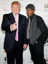 Donald Trump (left) and Arsenio Hall arrive at the