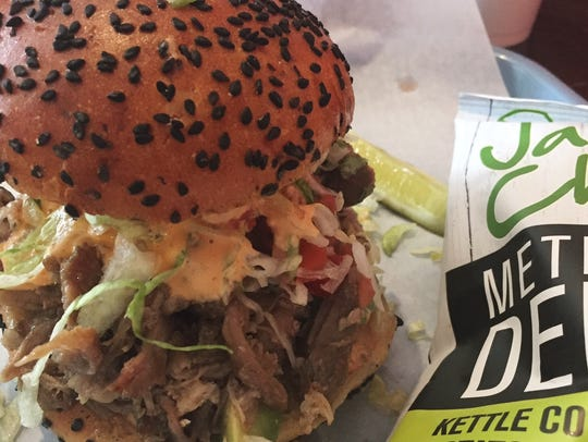 The Cemita de Carnitas was piled high with roasted