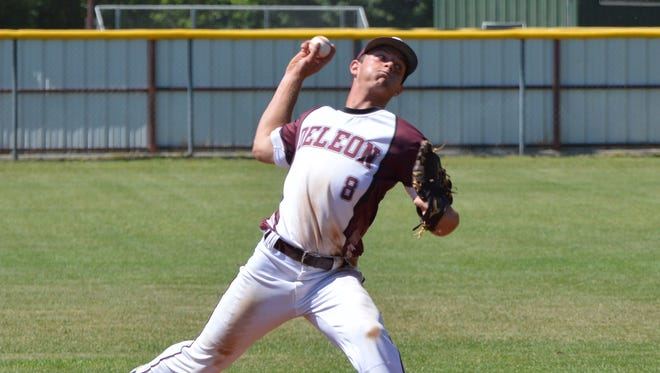 De Leon pitcher Kevin Yeager fires a first-inning pitch in Game 2 of a Class 2A Bi-district series with Stamford on Saturday in De Leon.
