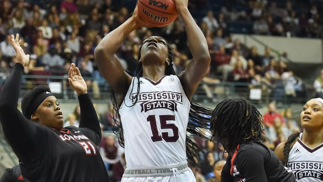 Mississippi State University's Teaira McCowan ((15) shoots against Louisiana Lafayette during game action Wednesday, November 29th, 2017 in Jackson, MS.(Bob Smith-For the Clarion Ledger)