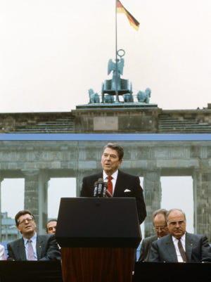 Then-president Ronald Reagan in West Berlin in 1987.