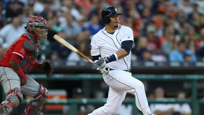 Tigers' Victor Martinez bats against the Angels on Wednesday, June 7, 2017 at Comerica Park in Detroit.