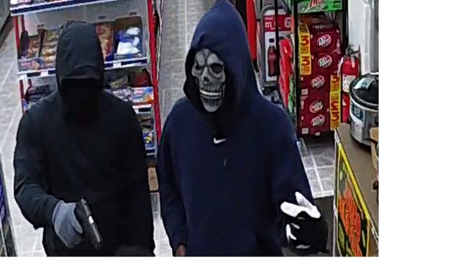 Deputies from the Greenville County Sheriff's Office are seeking information regarding an armed robbery at a Marathon gas station on White Horse Road. Surveillance photos taken March 30, 2018