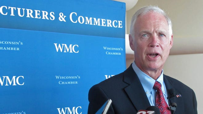 Wisconsin Republican U.S. Sen. Ron Johnson speaks to the media  Aug. 16 in Madison.
